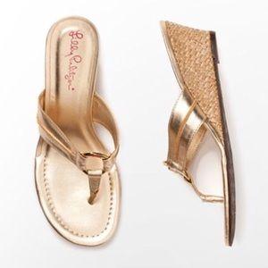 Lilly Pulitzer McKim Wedge Sandals Gold Metallic